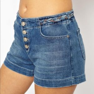 Free People Braided Waist Jean Shorts